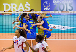 Players of Slovenia celebrate during volleyball match between National Teams of Slovenia and France in 3rd Round of 2015 CEV Volleyball European Championship Women Qualifications, on May 29, 2015 in Arena Tabor, Maribor, Slovenia