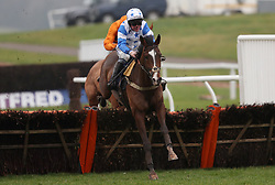 Diablo De Rouhet ridden by Mark Grant on their way to victory in the Coral Download The App Maiden Hurdle during Coral Welsh Grand National Day at Chepstow Racecourse, Chepstow.