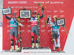 08.12.2013, Birds of Prey, Beaver Creek, USA, FIS Ski Weltcup, Beaver Creek, Riesentorlauf, Herren, Siegerpraesentation, im Bild v.l.n.r. Bode Miller (USA/2. Platz), Ted Ligety (USA/1. Platz), Marcel Hirscher (AUT/3. Platz) // f.l.t.r. 2nd place Bode Miller of the USA, 1st place Ted Ligety of the USA and 3rd place Marcel Hirscher of Austria Celebrate on Podium after mens Giant Slalom of the Beaver Creek FIS Ski Alpine World Cup at the Birds of Prey Raptor in Beaver Creek, United States on 2012/12/08. EXPA Pictures © 2013, PhotoCredit: EXPA/ Johann Groder