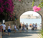 Gateway to commercial harbour, Rhodes town, Rhodes, Greece