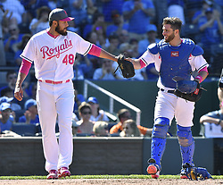 May 14, 2017 - Kansas City, MO, USA - Kansas City Royals relief pitcher Joakim Soria gets a fist bump from catcher Drew Butera after Soria caught a foul ball behind the plate for an out on Baltimore Orioles' Mark Trumbo to end the top of the eighth inning on Sunday, May 14, 2017 at Kauffman Stadium in Kansas City, Mo. (Credit Image: © John Sleezer/TNS via ZUMA Wire)