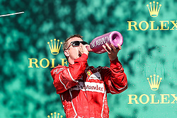 October 22, 2017 - Austin, Texas, U.S - Ferrari driver Kimi Raikkonen (7) of Finland on the podium after the Formula 1 United States Grand Prix race at the Circuit of the Americas race track in Austin,Texas. (Credit Image: © Dan Wozniak via ZUMA Wire)