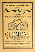 Printed advert for Clement Bicycles in Paris, French 1894