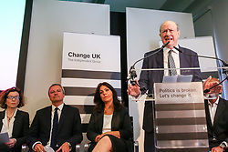 © Licensed to London News Pictures. 30/04/2019. London, UK. Change UK Member of the European Parliament (MEP) candidate Jan Vincent Rostowski speaking at the Change UK's People's Vote Remain rally for the European Elections in Westminster. Photo credit: Dinendra Haria/LNP