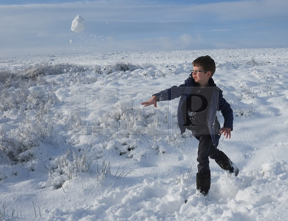© Licensed to London News Pictures. <br /> 27/12/2014. <br /> <br /> Castleton, United Kingdom.<br /> <br /> Joseph Carter, 9 from Keldholme has a snowball fight with his brother and sister on the North Yorkshire Moors near Castleton after overnight snowfall caused disruption in some parts of the country.<br /> <br /> Photo credit : Ian Forsyth/LNP