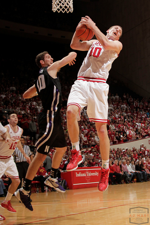 15 February 2012: Indiana Forward Will Sheehey (10)  as the Indiana Hoosiers played the Northwestern Wildcats in a college basketball game in Blomington, Ind.