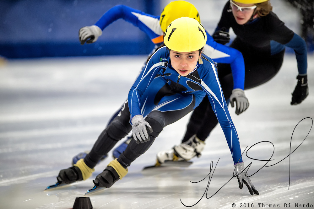 March 20, 2016 - Verona, WI - Nathalia Hurtado, skater number 161 competes in US Speedskating Short Track Age Group Nationals and AmCup Final held at the Verona Ice Arena.