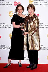 Joan Bakewell (right) in the press room after winning the award for Fellowship with presenter Kirsty Wark at the Virgin Media BAFTA TV awards, held at the Royal Festival Hall in London.