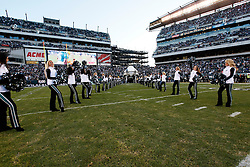 Philadelphia Eagles Cheerleaders line the field before the NFL game between the Denver Broncos and the Philadelphia Eagles on December 27th 2009. The Eagles won 30-27 at Lincoln Financial Field in Philadelphia, Pennsylvania. (Photo By Brian Garfinkel)