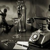 Prohibition era phone with martini