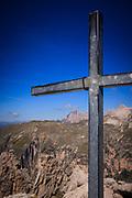 Cross on top of Cir Spitz Via Ferrata, Italian Dolomites