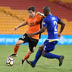 BRISBANE, AUSTRALIA - JANUARY 31: Shannon Brady of the Roar in action during the second qualifying round of the Asian Champions League match between the Brisbane Roar and Global FC at Suncorp Stadium on January 31, 2017 in Brisbane, Australia. (Photo by Patrick Kearney/Brisbane Roar)