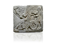 Picture & image of Hittite relief sculpted orthostat stone panel of Herald's Wall Basalt, Karkamıs, (Kargamıs), Carchemish (Karkemish), 900-700 B.C. Anatolian Civilisations Museum, Ankara, Turkey.<br /> <br /> On the right is a bearded human figure with a short skirt; with the dagger in his right hand, he is stabbing the lion standing on his front legs while holding the lion's tail with his left hand. On the left is a bearded god figure with a horned-headdress, who grasps the lion's hind leg while holding the ax over his head with his right hand. <br /> <br /> Against a white background. .<br />  <br /> If you prefer to buy from our ALAMY STOCK LIBRARY page at https://www.alamy.com/portfolio/paul-williams-funkystock/hittite-art-antiquities.html  - Type  Karkamıs in LOWER SEARCH WITHIN GALLERY box. Refine search by adding background colour, place, museum etc.<br /> <br /> Visit our HITTITE PHOTO COLLECTIONS for more photos to download or buy as wall art prints https://funkystock.photoshelter.com/gallery-collection/The-Hittites-Art-Artefacts-Antiquities-Historic-Sites-Pictures-Images-of/C0000NUBSMhSc3Oo