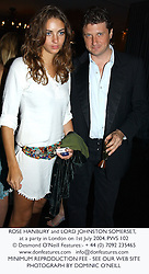 ROSE HANBURY and LORD JOHNSTON SOMERSET, at a party in London on 1st July 2004.PWS 102