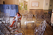 23 JULY 2002 - TRINIDAD, SANCTI SPIRITUS, CUBA: A pregnant woman in a Hogar de Maternidad (Maternity Home) in the colonial city of Trinidad, province of Sancti Spiritus, Cuba, July 23, 2002. Trinidad is one of the oldest cities in Cuba and was founded in 1514. The Cuban government has maternity homes across the island. Women late in their pregnancy or experiencing a difficult pregnancy live in the homes close to medical help until their delivery date. .PHOTO BY JACK KURTZ