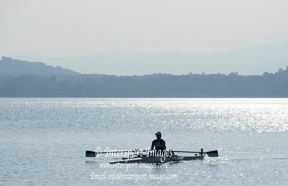 Varese. ITALY.  ISR ASW1X. SAMUEL, Moran, waiting to start her heat.  2015 FISA World Cup II Venue Lake Varese. Thursday  18/06/2015 [Mandatory Credit: Peter Spurrier/Intersport images]