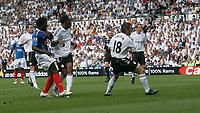 Photo: Steve Bond. <br />Derby County v Portsmouth. Barclays Premiership. 11/08/2007. Benjani Mwaruwari shoots & scores the first equaliser