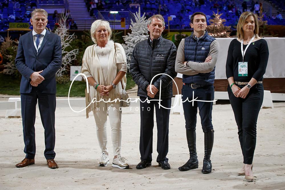 Delabie Stefaan, breeder Halifax van het Kluizenbos, Mrs Delabie, De Luca Lorenzo, Pedersen Jan<br /> WBFSH prize giving<br /> CHI de Genève 2017<br /> © Hippo Foto - Dirk Caremans<br /> 09/12/2017