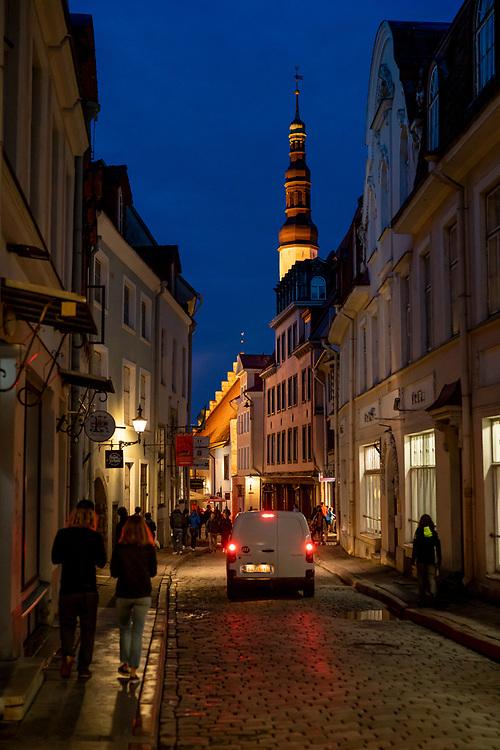 Cobblestone streets of Old town in Tallinn, Estonia on Sunday Aug. 11, 2019.  Photo by Ken Cedeno