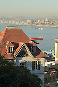 View of sea buildings and ships, Valparaiso, Chile
