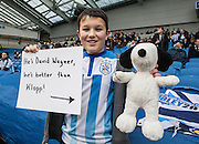 Huddersfield fan shows his support for Manager David Wagner during the Sky Bet Championship match between Brighton and Hove Albion and Huddersfield Town at the American Express Community Stadium, Brighton and Hove, England on 23 January 2016. Photo by Bennett Dean.