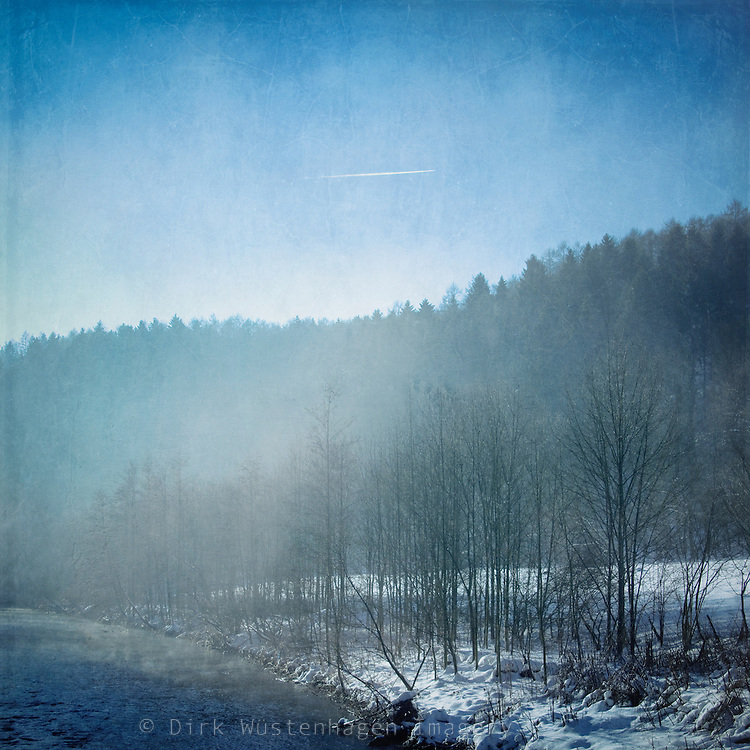 Morning fog and rising sun at river Wupper/Germany on a cold winter morning.<br /> Prints: http://society6.com/DirkWuestenhagenImagery/Winter-Blues-II-yse_Print