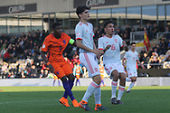 Daishawn Redan of Netherlands (9) shoots for goal during the UEFA European Under 17 Championship 2018 match between Netherlands and Spain at the Pirelli Stadium, Burton upon Trent, England on 8 May 2018. Picture by Mick Haynes.