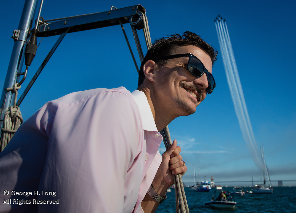 Williston 'Trey' Dye III enjoys an aerial performance by the Blue Angels over San Francisco Bay