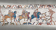Bayeux Tapestry scene 2 : Harlod leaves for Normandy to inform William he will eucceed to English Throne. .<br /> <br /> If you prefer you can also buy from our ALAMY PHOTO LIBRARY  Collection visit : https://www.alamy.com/portfolio/paul-williams-funkystock/bayeux-tapestry-medieval-art.html  if you know the scene number you want enter BXY followed bt the scene no into the SEARCH WITHIN GALLERY box  i.e BYX 22 for scene 22)<br /> <br />  Visit our MEDIEVAL ART PHOTO COLLECTIONS for more   photos  to download or buy as prints https://funkystock.photoshelter.com/gallery-collection/Medieval-Middle-Ages-Art-Artefacts-Antiquities-Pictures-Images-of/C0000YpKXiAHnG2k