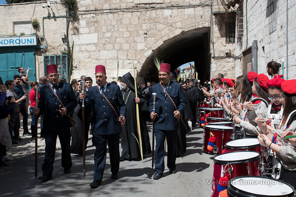 Jerusalem, Israel. 1st April, 2018. Armenian Palm Sunday procession arriving to Saint James Cathedral. © Valentin Sama-Rojo.