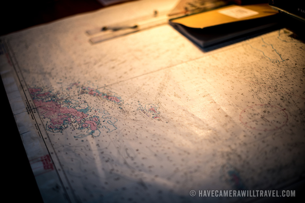 A ship's chart plots a course across Drake's Passage enroute to Antarctica from South America.
