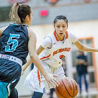 Capital Jaguar Audrey Gonzales (5), left, is shadowed by Gallup Bengal Amanda Mitchel (3) during a first round matchup of the 5A girls state basketball championship at Gallup High School Friday.