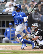 CHICAGO - APRIL 17:  Jorge Soler #12 of the Kansas City Royals bats against the Chicago White Sox on April 17, 2019 at Guaranteed Rate Field in Chicago, Illinois.  (Photo by Ron Vesely)  Subject:   Jorge Soler