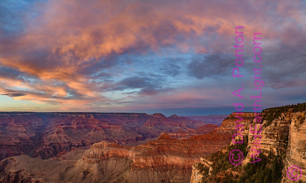 Sunset at the Grand Canyon, Yavapi Point at the far right, © David A. Ponton