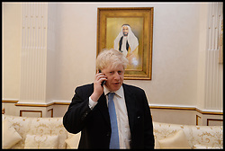 The London Mayor Boris Johnson Talks to the Prime Minister David Cameron while waiting to have a meeting with HH Sheikh Mohammed bin Zayed bin Sultan Al Nahyan, Crown Prince of Abu Dhabi. The Mayor is on a 2 day tour of the UAE, Monday April 15, 2013. Photo By Andrew Parsons / i-Images