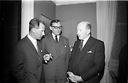 "24/03/1966<br /> 03/24/1966<br /> 24 March 1966<br /> Reception at the Shelbourne Hotel for speakers at the Symposium on ""Shock"" sponsored by Pharmacia International held at UCD. Image shows (l-r): Dr U.F. Gruber, M.D., Switzerland; Dr H. Hint, M.D., Sweden, both of whom presented papers and Professor P. FitzGerald, M.D., M.Ch., M.Sc., F.R.C.S.I. who chaired the event."