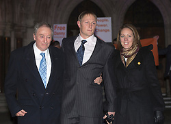 SAS Sergeant Danny Nightingale (C) with his wife Sarah Nightingale and his father appealing against his conviction for illegal possession of a pistol, High Court, London, UK, November 29, 2012. Photo by i-Images.
