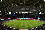 a general view inside the stadium before the match under the closed roof. Rugby World Cup 2015 pool A match, Wales v Uruguay at the Millennium Stadium in Cardiff, South Wales  on Sunday 20th September 2015.<br /> pic by  Andrew Orchard, Andrew Orchard sports photography.