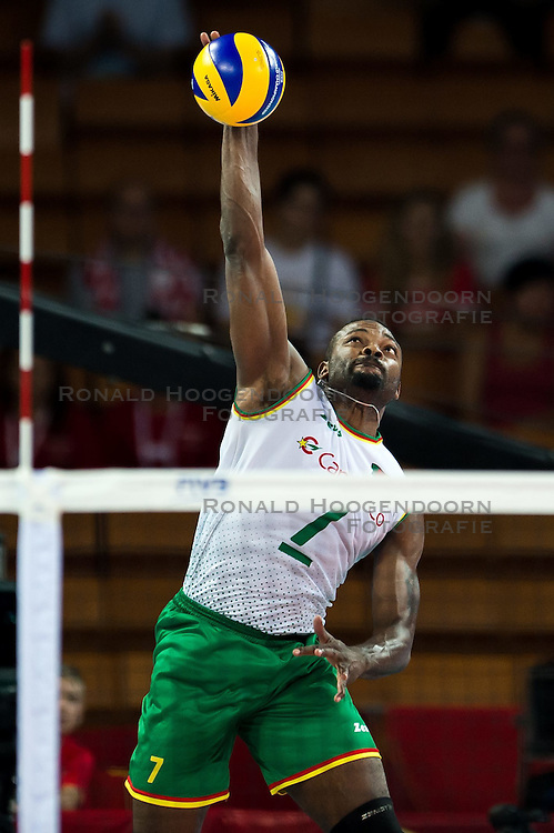 07.09.2014, Centennial Hall, Breslau, POL, FIVB WM, Serbien vs Kamerun, Gruppe A, im Bild Jean Patrice Ndaki Mboulet cameroon #7 // Jean Patrice Ndaki Mboulet cameroon #7 // during the FIVB Volleyball Men's World Championships Pool A Match beween Serbia and Cameroon at the Centennial Hall in Breslau, Poland on 2014/09/07. <br /> <br /> ***NETHERLANDS ONLY***