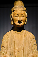 France, Paris (75), Musée Guimet, Bouddha méditant, Chine du Nord, Henan, grottes de Gongxian, 6e siecle // France, Paris, Guimet museum, Meditating Buddha, North China, Henan, Gongxian Caves, 6th century