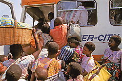 People Crowding Door To Board Bus At Blantyre Bus Station