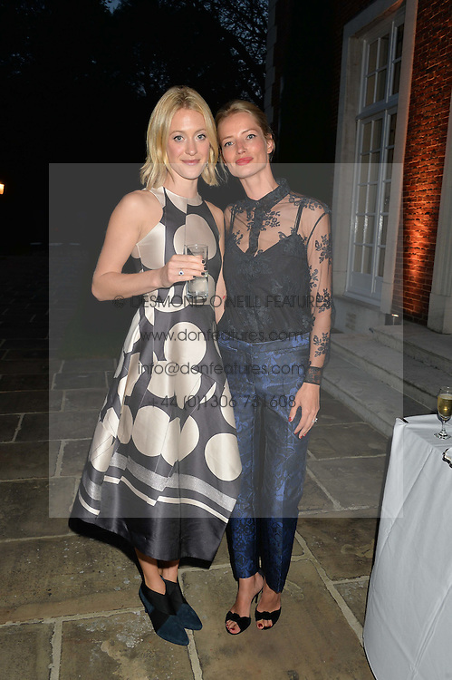 Left to right, ROSE VAN CUTSEM and JESSICA VAN DER STEEN at a party hosed by the US Ambassador to the UK Matthew Barzun, his wife Brooke Barzun and editor of UK Vogue Alexandra Shulman in association with J Crew to celebrate London Fashion Week held at Winfield House, Regent's Park, London on 16th September 2014.