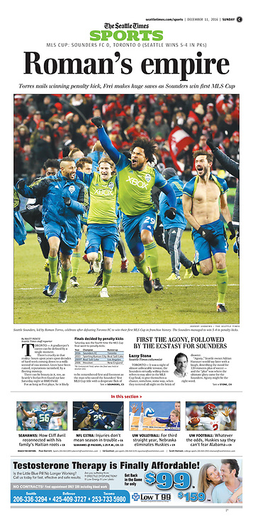 """Seattle Times Page: """"Roman's empire"""" (Sunday, December 11, 2016, C1)."""