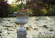 A carved stone urn filled with dark red geraniums next to the moat at Hindringham Hall, Hindringham, Norfolk, UK