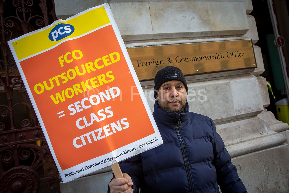 Mohammed, a cleaner for Interserve, the cleaning contractors for the Foreign and Commonwealth Office FCO who are striking for better working conditions and union recognition on the 11th of February 2020 in Westminster, London, United Kingdom.