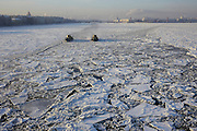 Saint Petersburg, Russia, The Neva River Icebreakers clearing a path through the river
