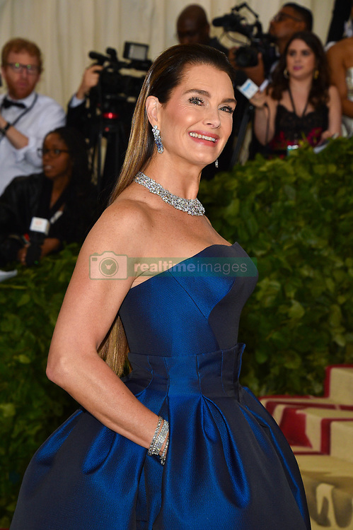 Brooke Shields attending the Costume Institute Benefit at The Metropolitan Museum of Art celebrating the opening of Heavenly Bodies: Fashion and the Catholic Imagination. The Metropolitan Museum of Art, New York City, New York, May 7, 2018. Photo by Lionel Hahn/ABACAPRESS.COM
