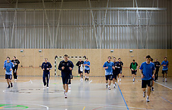 From L David Spiler, Dusan Podpecan, Gorazd Skof, Matjaz Brumen, Miha Zvizej, Jure Natek, Dragan Gajic, Matjaz Mlakar, Klemen Cehte, Aljosa Rezar and Renato Vugrinec at Open training session for the public of Slovenian handball National Men team before European Championships Austria 2010, on December 27, 2009, in Terme Olimia, Podcetrtek, Slovenia.  (Photo by Vid Ponikvar / Sportida)