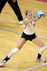 25 AUG 2007:Redhawk Libero Maria Leahy receives a serve. By a score of 3 games to 1,  Illinois State University Redbirds defeated the Redhawks of Miami of Ohio at Redbird Arena on the campus of Illinois State University in Normal Illinois.