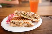 The Cubana Sandwich with Yuka con Mojo from El Gato Tuerto food cart in Portland, Oregon